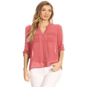 LOFT Coral Sheer Chiffon Button Down Blouse